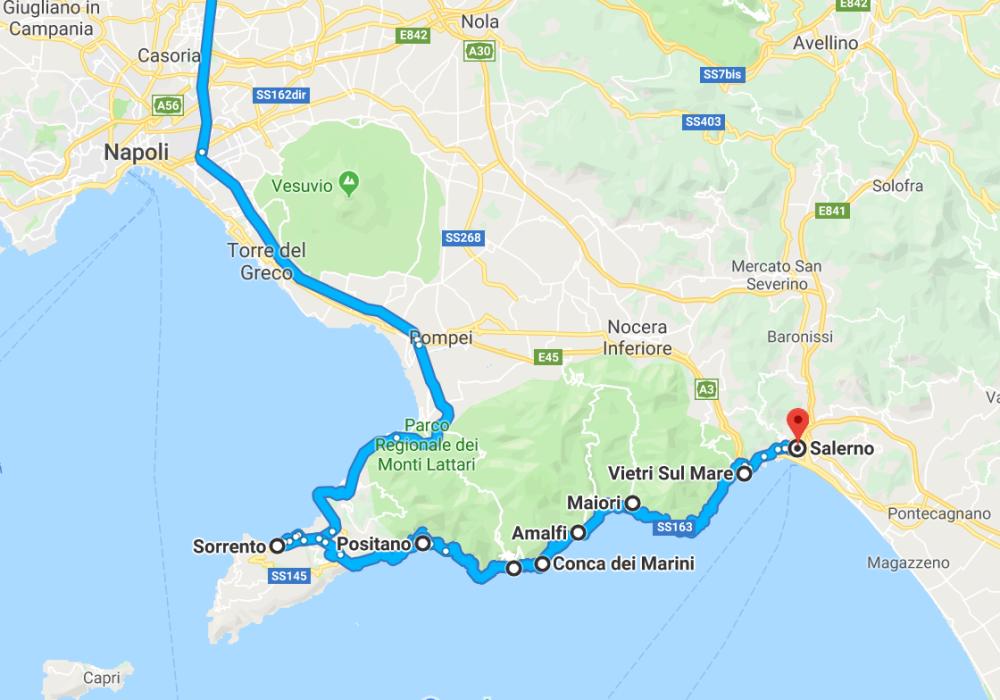 Cartina Geografica Della Costiera Amalfitana.Costiera Amalfitana Visita Di Due Giorni In Auto Iamo